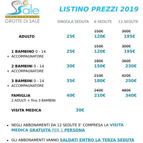 Listino Prezzi 2019 | Soffio di Sale di Verona