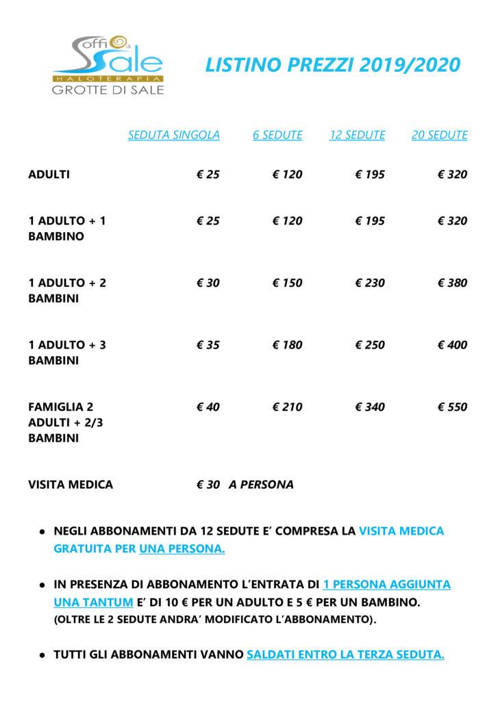 Listino 2020 | Soffio di Sale di Verona